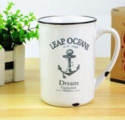 Kubek porcelanowy retro - ocean