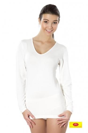 Koszulka damska długi rękaw Pani Teresa 95% BAMBUS